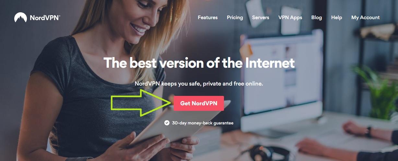 NordVPN homepage screenshot
